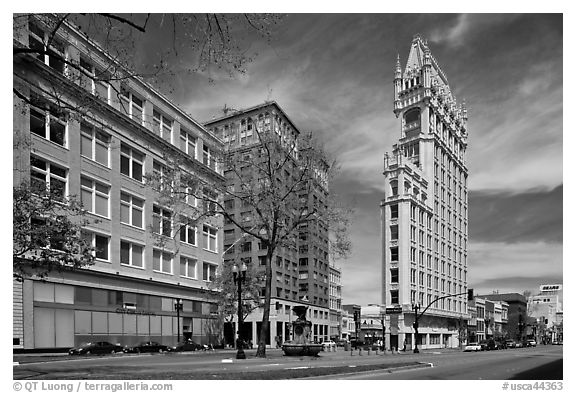 Broadway street and Cathedral Building. Oakland, California, USA (black and white)