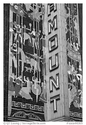 Detail of art deco mosaic, Paramount Theater. Oakland, California, USA (black and white)