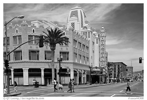 Downtown street with Oakland Fox Theater. Oakland, California, USA (black and white)