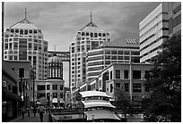 City center mall and Federal building. Oakland, California, USA ( black and white)