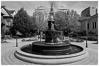 Fountain, Preservation Park. Oakland, California, USA (black and white)