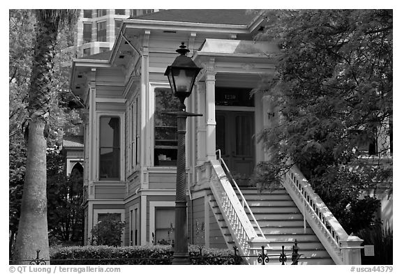 Historic house, Preservation Park. Oakland, California, USA (black and white)