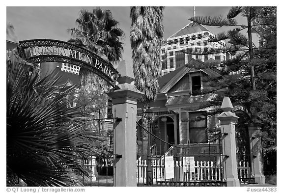 Gate, Preservation Park. Oakland, California, USA (black and white)