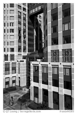 Base of Federal towers. Oakland, California, USA (black and white)