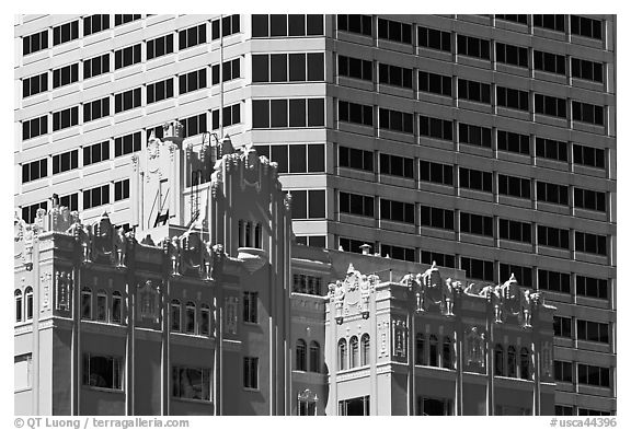 Historic and modern high rise buildings. Oakland, California, USA (black and white)
