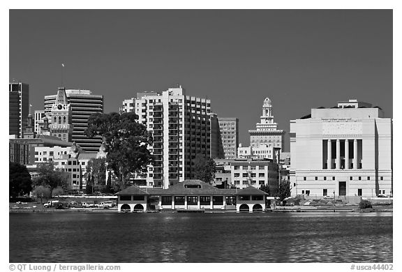 Skyline with Tribune tower, city hall, and Scott Rite temple. Oakland, California, USA (black and white)