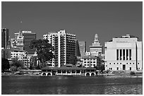 Skyline with Tribune tower, city hall, and Scott Rite temple. Oakland, California, USA ( black and white)