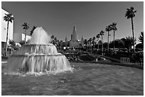 Fountain and Oakland mormon (LDS) temple. Oakland, California, USA (black and white)