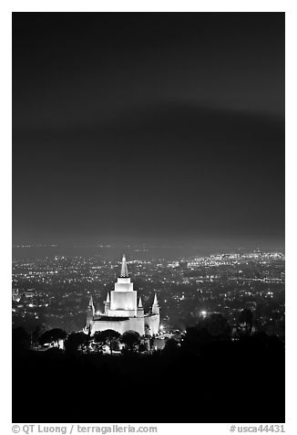 Oakland california temple and SF Bay by night. Oakland, California, USA (black and white)