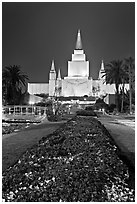 Oakland LDS temple and grounds by night. Oakland, California, USA (black and white)