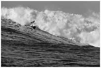 Surfer in Maverick wave. Half Moon Bay, California, USA ( black and white)