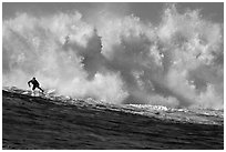 Mavericks big wave surfing. Half Moon Bay, California, USA ( black and white)