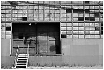 Warehouse and loading dock doors. Berkeley, California, USA (black and white)