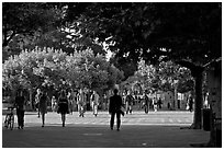 Students walking on Sproul Plazza. Berkeley, California, USA ( black and white)