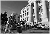 Students practising drums. Berkeley, California, USA ( black and white)