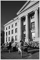 Drummers in front of Sproul Hall. Berkeley, California, USA ( black and white)