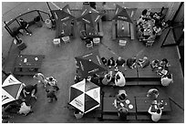 Bar tables from above. Berkeley, California, USA (black and white)