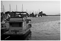 Berkeley Marina at sunset. Berkeley, California, USA (black and white)
