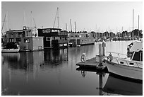 Houseboats in Berkeley Marina, sunset. Berkeley, California, USA (black and white)