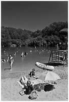 Sand beach, Anza Lake. Berkeley, California, USA (black and white)