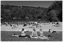 Sunbathing, Lake Anza, Tilden Regional Park. Berkeley, California, USA (black and white)