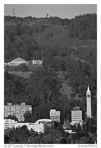 University of California and hills. Berkeley, California, USA (black and white)
