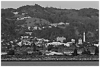 Berkeley hills seen from the Bay. Berkeley, California, USA ( black and white)