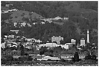 Buildings and hills in spring. Berkeley, California, USA ( black and white)