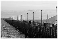 Stroll on Berkeley Pier. Berkeley, California, USA (black and white)