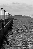 Berkeley Pier and Alcatraz at sunset. Berkeley, California, USA (black and white)