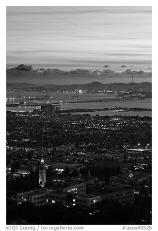 University of California and San Francisco Bay at sunset. Berkeley, California, USA (black and white)