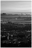 University of California and San Francisco Bay at sunset. Berkeley, California, USA ( black and white)