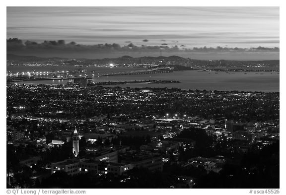 University and city at sunset. Berkeley, California, USA (black and white)