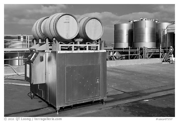 Wine processing equipment, Artesa Winery. Napa Valley, California, USA (black and white)