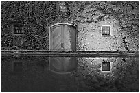 Ivy-covered facade reflected in pool at night. Napa Valley, California, USA (black and white)