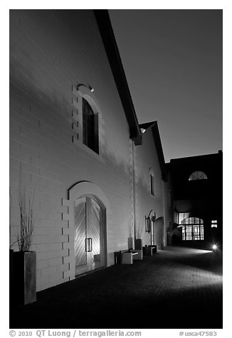 Winery at night, Hess Collection. Napa Valley, California, USA (black and white)