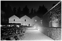 Winery courtyard, Hess Collection. Napa Valley, California, USA (black and white)
