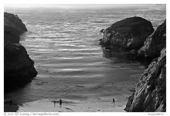 China Cove with people from above. Point Lobos State Preserve, California, USA (black and white)