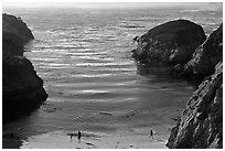 China Cove with people from above. Point Lobos State Preserve, California, USA ( black and white)