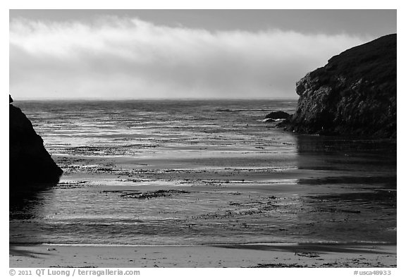 Marine layer offshore China Cove. Point Lobos State Preserve, California, USA (black and white)