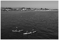 Sea kayakers. Santa Cruz, California, USA ( black and white)