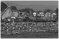 Crowded beach scene. Santa Cruz, California, USA ( black and white)