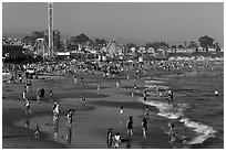 Beach on summer day. Santa Cruz, California, USA ( black and white)