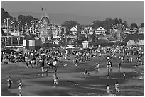 Popular beach in summer. Santa Cruz, California, USA (black and white)