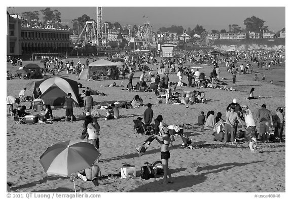 Beach scene in summer. Santa Cruz, California, USA