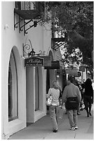 Shopping on Ocean Avenue. Carmel-by-the-Sea, California, USA (black and white)