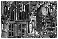 Old wooden houses used as art galleries. Carmel-by-the-Sea, California, USA (black and white)