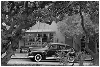 Classic car on Ocean Avenue. Carmel-by-the-Sea, California, USA (black and white)