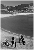 Wedding party on Carmel River Beach. Carmel-by-the-Sea, California, USA (black and white)