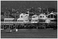 Fishermans wharf, late afternoon. Monterey, California, USA (black and white)